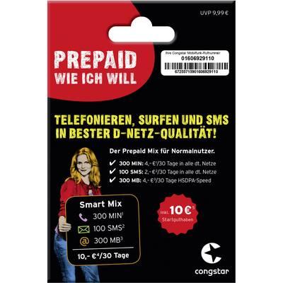 Congstar Prepaid Karte Kaufen.Congstar Starterpaket Smart Mix Prepaid Karte Ohne Vertragsbindung