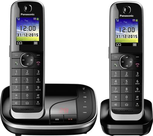 Schnurloses Telefon analog Panasonic KX-TGJ322GB Anrufbeantworter, Freisprechen, Headsetanschluss Schwarz