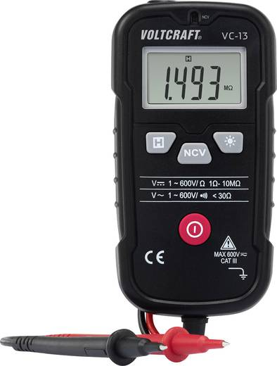 VOLTCRAFT VC-13 Hand-Multimeter digital Kalibriert nach: ISO CAT III 600 V Anzeige (Counts): 4000