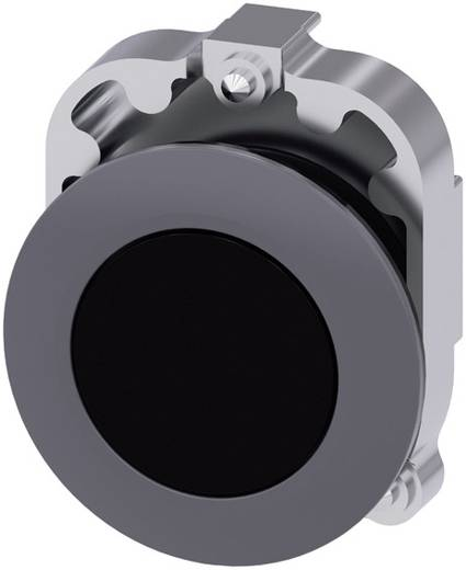 Drucktaster Frontring Metall, Betätiger flach Schwarz Siemens SIRIUS ACT 3SU1060-0JB10-0AA0 1 St.