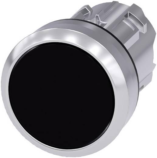 Drucktaster Frontring Metall, Hochglanz, Betätiger flach Schwarz Siemens SIRIUS ACT 3SU1050-0AB10-0AA0 1 St.