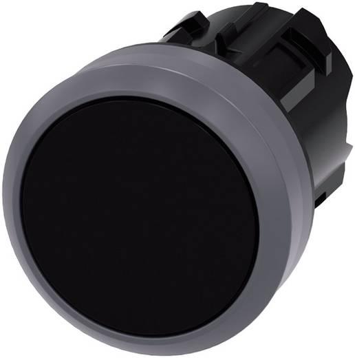 Drucktaster Betätiger flach, Frontring Metall Schwarz Siemens SIRIUS ACT 3SU1030-0AB10-0AA0 1 St.