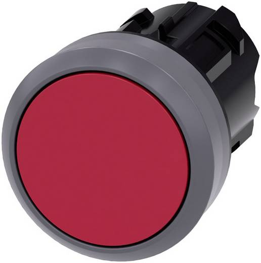 Drucktaster Betätiger flach, Frontring Metall Rot Siemens SIRIUS ACT 3SU1030-0AB20-0AA0 1 St.