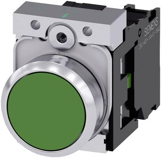Drucktaster Frontring Metall, Hochglanz, Betätiger flach Grün Siemens SIRIUS ACT 3SU1150-0AB40-1BA0 1 St.