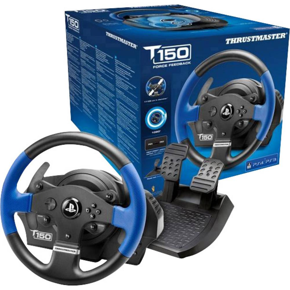 Thrustmaster T150 RS Force Feedback Stuur USB 2.0 PlayStation 3, PlayStation 4, PC Zwart, Blauw Incl. pedaal