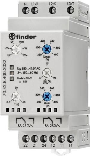 Überwachungsrelais 380 - 415 V/AC 2 Wechsler 1 St. Finder 70.42.8.400.2032 3-Phasen-Netzüberwachung, N-Leiter-Überwachun