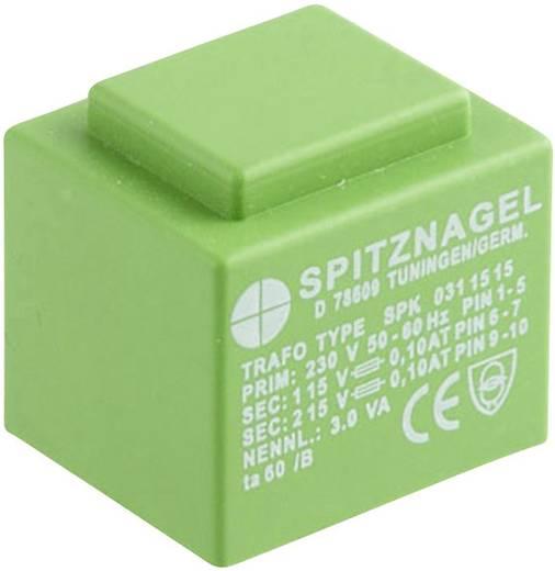 Printtransformator 1 x 230 V 2 x 15 V/AC 3 VA 100 mA SPK 0311515 Spitznagel