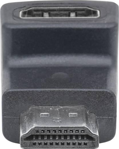 HDMI Adapter 90° nach oben gewinkelt [1x HDMI-Stecker - 1x HDMI-Buchse] Schwarz vergoldete Steckkontakte Manhattan