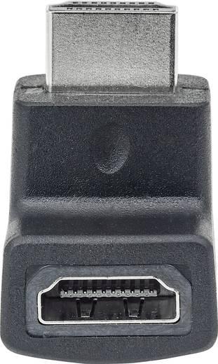 HDMI Adapter 90° nach unten gewinkelt [1x HDMI-Stecker - 1x HDMI-Buchse] Schwarz vergoldete Steckkontakte Manhattan