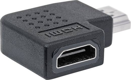 HDMI Adapter 90° nach links gewinkelt [1x HDMI-Stecker - 1x HDMI-Buchse] Schwarz vergoldete Steckkontakte Manhattan
