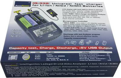 Caricabatterie universale NiCd, NiMH, LiIon AccuPower IQ338 10440, 14500, 16340, 17355, 17500, 17670, 18490, 18500, 186