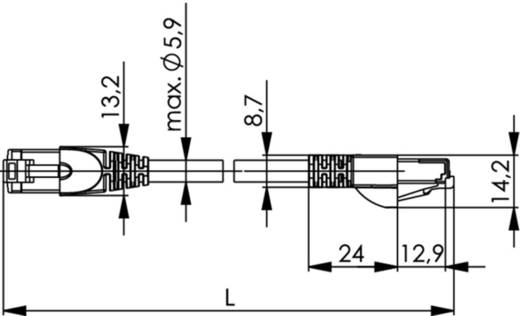RJ45 Netzwerk Anschlusskabel CAT 6a S/FTP 50 m Schwarz Flammwidrig, Halogenfrei Telegärtner