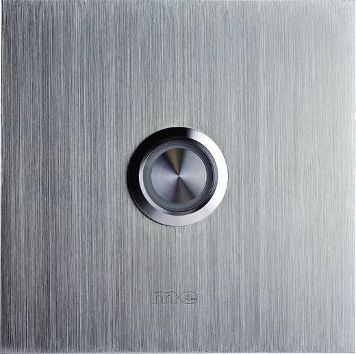 m-e modern-electronics 41012 Klingelplatte beleuchtet 1fach Silber 8-24 V AC/DC/1 A