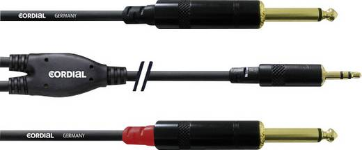 Audio Adapterkabel [1x Klinkenstecker 3.5 mm - 2x Klinkenstecker 6.35 mm] 6 m Schwarz Cordial