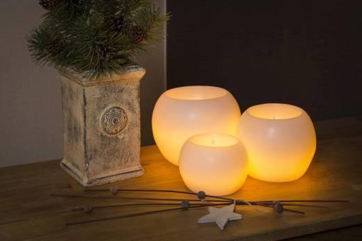 LED-Echtwachskerze Weiß Warm-Weiß (Ø x H) 12 cm x 8.5 cm Konstsmide
