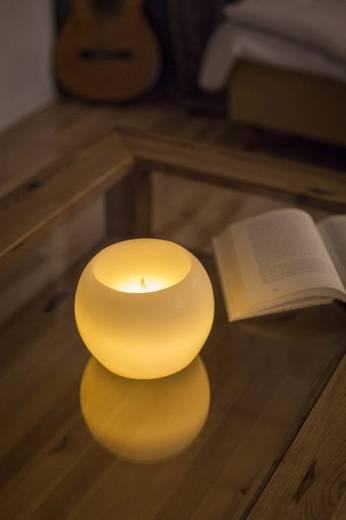 LED-Echtwachskerze Weiß Warm-Weiß (Ø x H) 14 cm x 11 cm Konstsmide