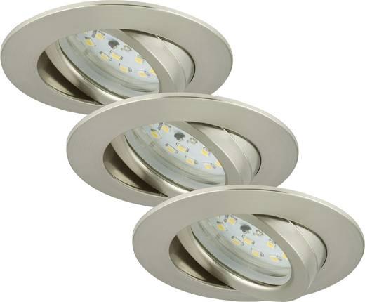 Briloner 7232-032 LED-Einbauleuchte 3er Set 16.5 W Warm-Weiß Nickel (matt)