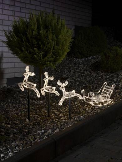 Acryl-Figur Schlitten, Rentier Warm-Weiß LED Konstsmide 4447-103 Weiß