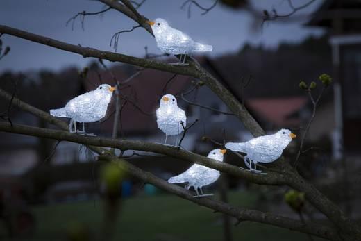 Acryl-Figur Vögel 5er Set Kalt-Weiß LED Konstsmide 6144-203 Weiß