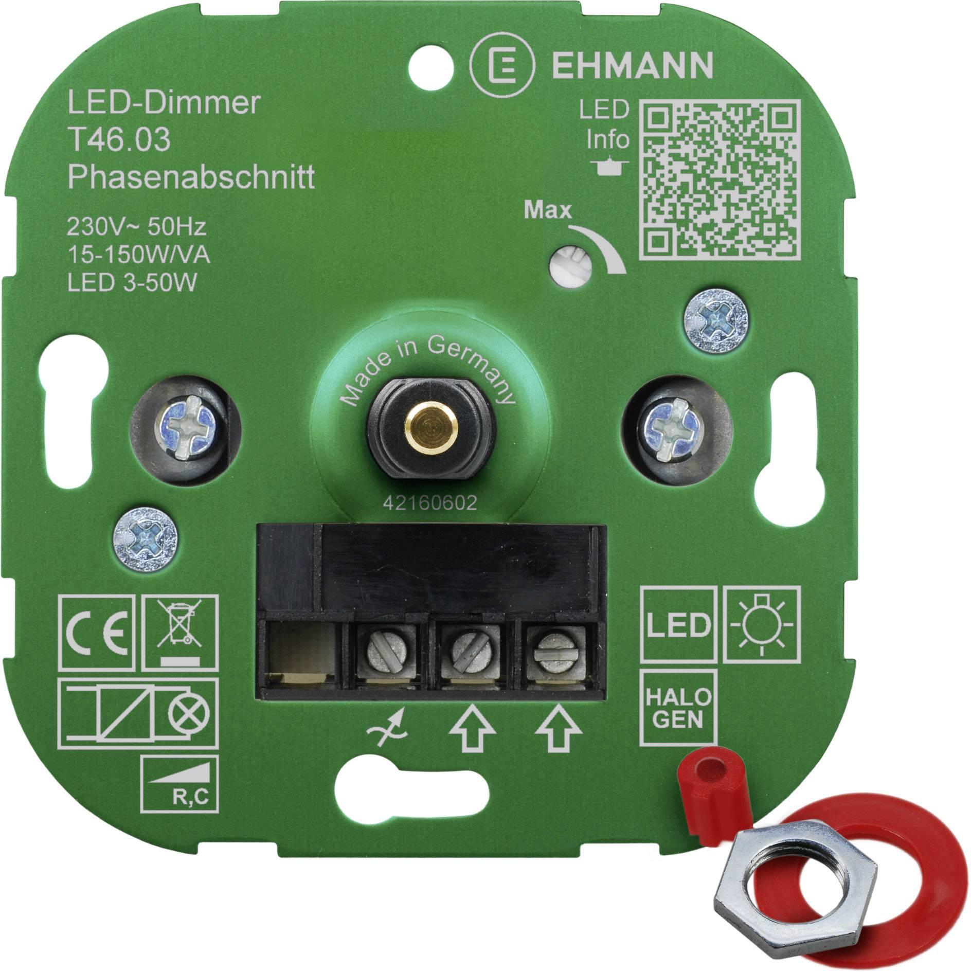 Ehmann 4600x0300 Unterputz Dimmer Geeignet für Leuchtmittel: LED Lampe, Energiesparlampe, Halogenlampe, Glühlampe