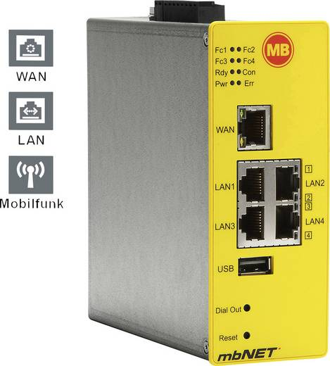 Industrie Router USB, LAN, 3G, RS-232, RS-485 MB Connect Line GmbH Anzahl Eingänge: 4 x Anzahl Ausgänge: 2 x 24 V/DC