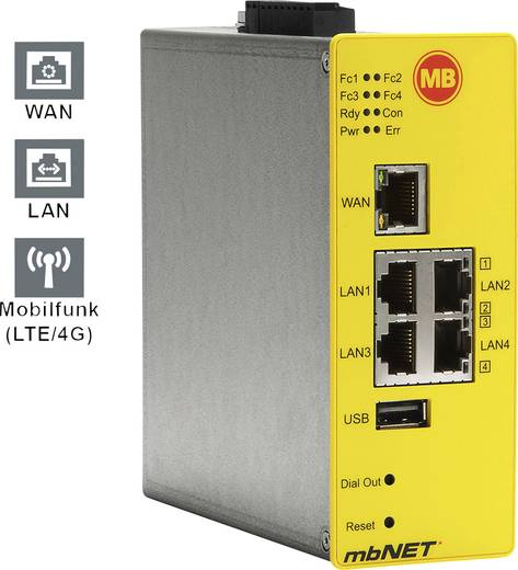 Industrie Router USB, LAN, LTE MB Connect Line GmbH Anzahl Eingänge: 4 x Anzahl Ausgänge: 2 x 24 V/DC