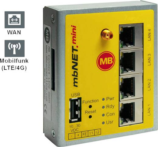 Industrie Router USB, LAN, LTE MB Connect Line GmbH Anzahl Eingänge: 2 x 24 V/DC