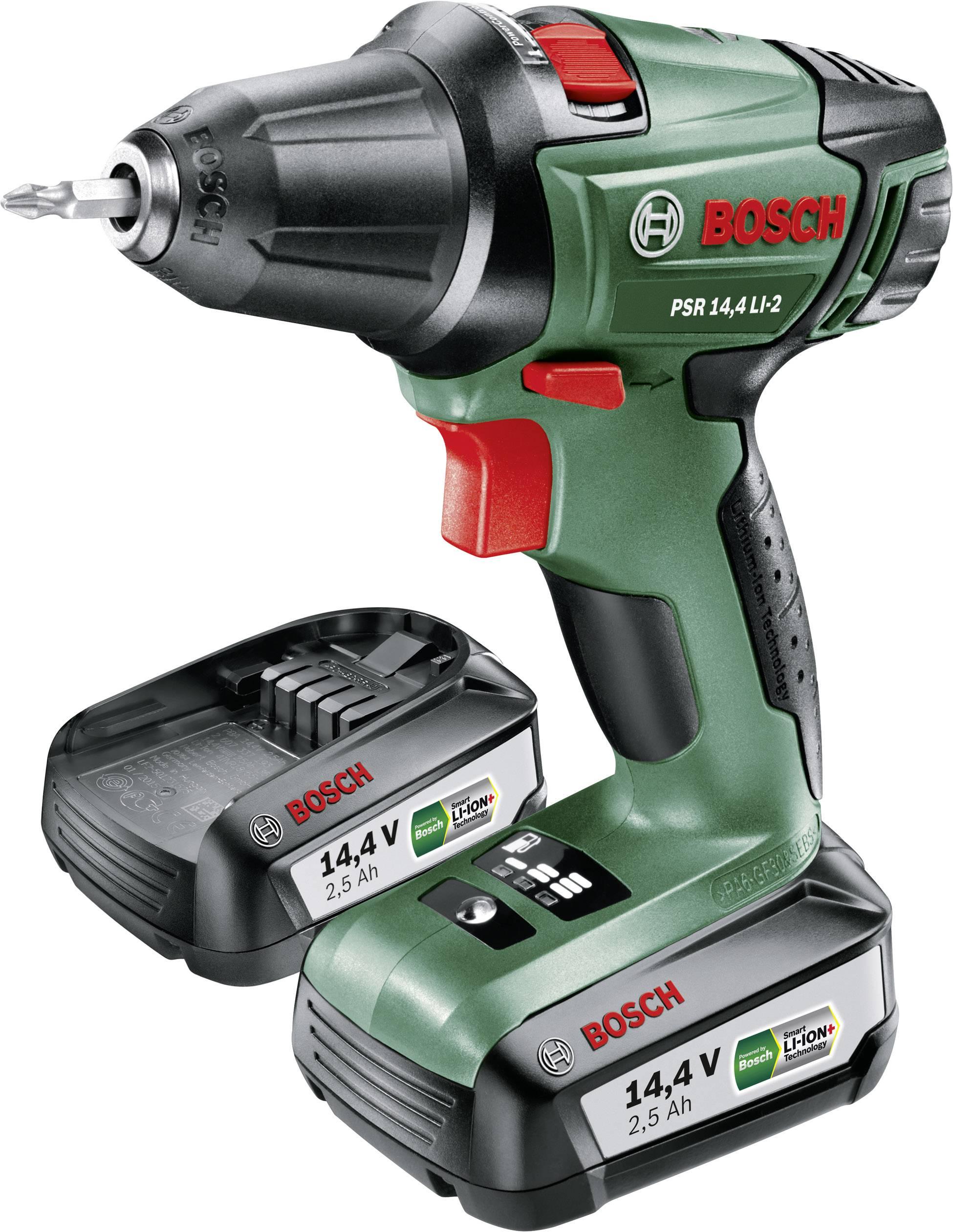 Bosch Home and Garden PSR 14,4 LI 2 Akku Bohrschrauber 14.4 V 2.5 Ah Li Ion inkl. 2. Akku, inkl. Koffer
