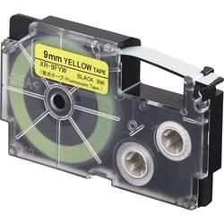 Páska fluorescentní Casio XR-9FYW, 9 mm, 5.5 m, černá, žlutá (fluorescenční)