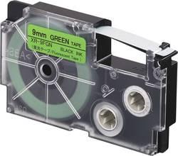 Páska fluorescentní Casio XR-9FGN, 9 mm, 5.5 m, černá, zelená reflexní