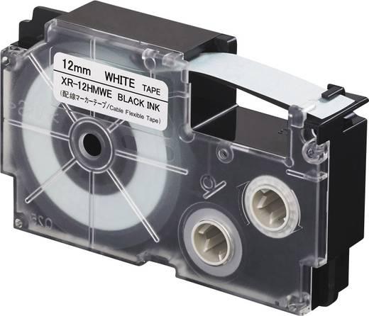 Schriftband Biegsame Kabelumwicklung Casio XR XR-12HMWE Polyethylen Bandfarbe: Weiß Schriftfarbe:Schwarz 12 mm 5.5 m