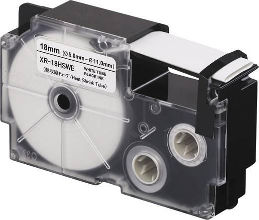 Schriftband Wärme-Schrumpfschlauch Casio XR XR18HSWE Polyolefin Bandfarbe: Weiß Schriftfarbe:Schwarz 18 mm 2.5 m