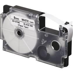 Páska papírová Casio XR-9TWE, 9 mm, 8 m, černá, bílá