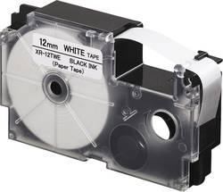 Páska papírová Casio XR-12TWE, 12 mm, 8 m, černá, bílá