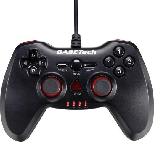 Gamepad Basetech USB Vibration PC, PlayStation 3 Schwarz, Rot