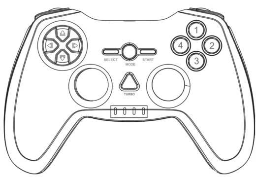 Basetech USB Vibration Gamepad PC, PlayStation 3 Schwarz, Rot