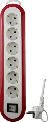 GAO 0559 Steckdosenleiste mit Schalter 6fach Weiß, Rot Schutzkontakt