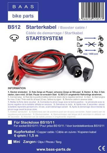 BAAS Startsystem BS12 Starthilfekabel 6 mm² 1.50 m mit Stahlblech-Zangen