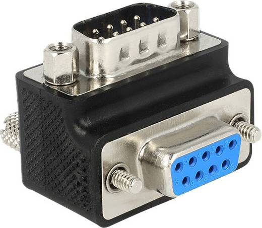 Seriell Adapter [1x D-SUB-Stecker 9pol. - 1x D-SUB-Buchse 9pol.] 90° gewinkelt Schwarz schraubbar Delock