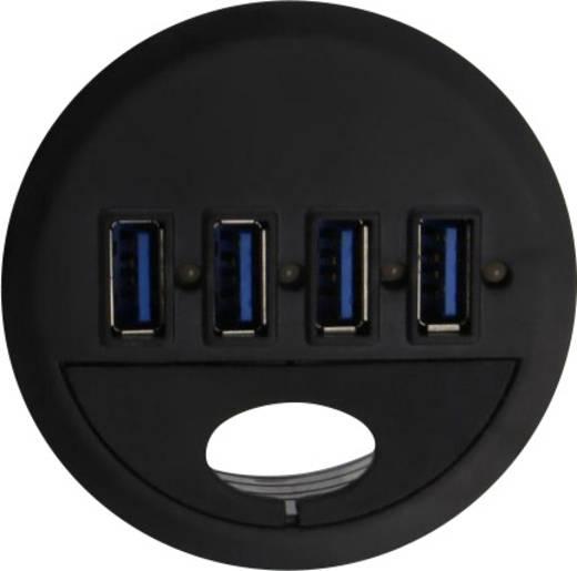 4 Port USB 3.0 Tisch-Hub mit Status-LEDs Renkforce Schwarz