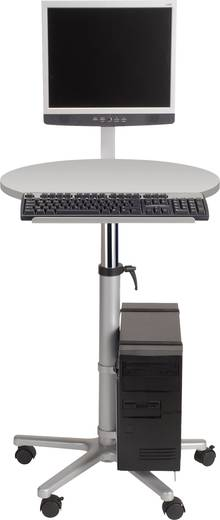 Maul Monitor-Pult 9317182 Farbe der Tischplatte: Grau höhenverstellbar, rollbar, Monitor-Halterung, PC-Halterung, Tastat