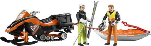 Bruder Bergrettungs-Set mit Snowmobil, Fahrer, Rettungsschlitten und Skifahrer