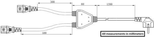 Renkforce Strom Y-Kabel [1x Schutzkontakt-Stecker - 2x Kaltgeräte-Buchse C13] 1.70 m Schwarz