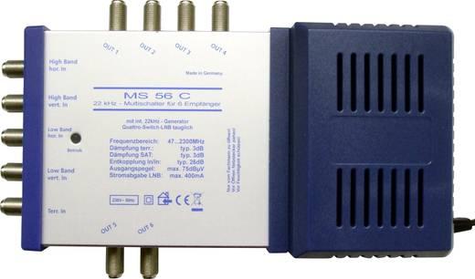 SAT Multischalter Renkforce MS56C Eingänge (Multischalter): 5 (4 SAT/1 terrestrisch) Teilnehmer-Anzahl: 6 Quad-LNB-taugl