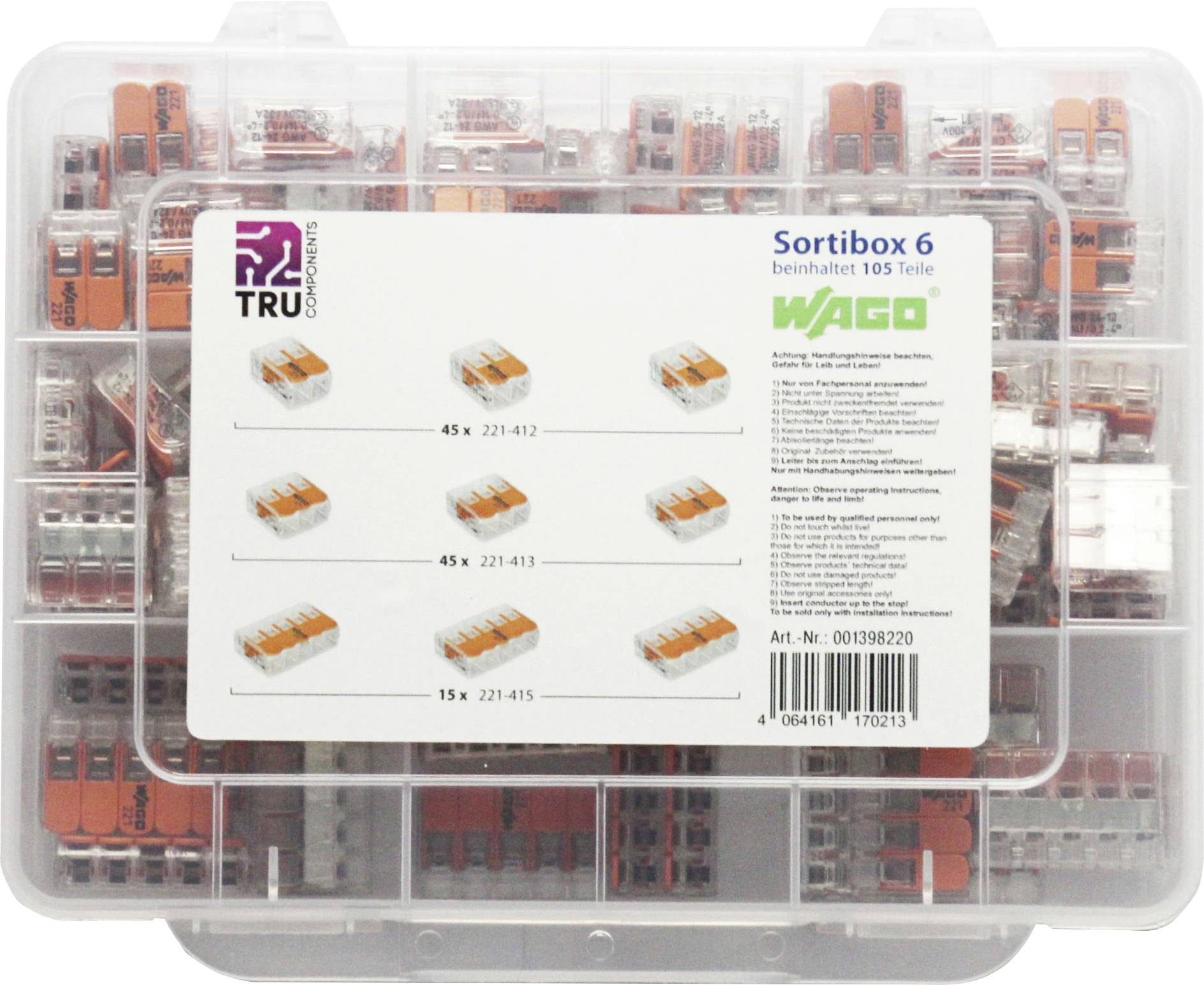 0.2-4mm² 1 0.14-4mm² starr WAGO 887-952 Verbindungsklemmen-Sortiment flexibel
