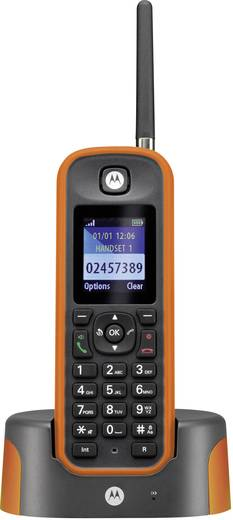 Schnurloses Telefon analog Motorola O211 Anrufbeantworter, Freisprechen, Outdoor, stoßfest, wasserdicht Orange, Grau