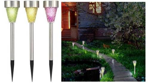 solar gartenleuchte 3er set led rgb renkforce mosaik bunt aluminium. Black Bedroom Furniture Sets. Home Design Ideas