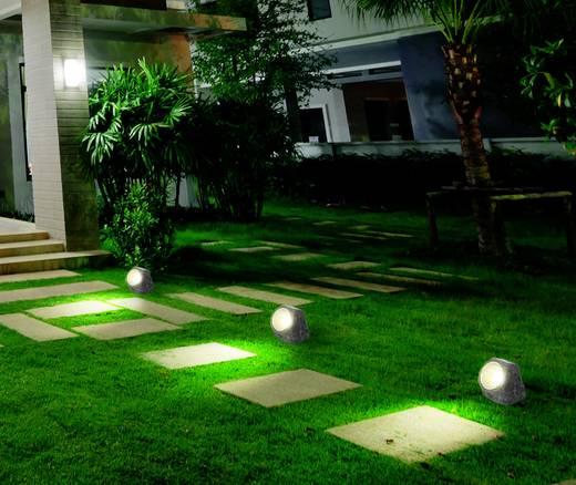 Renkforce Solar-Dekoleuchte Stein LED Weiß Grau