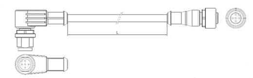 TE Connectivity 2273121-4 Sensor-/Aktor-Steckverbinder, konfektioniert M12 Stecker, gewinkelt, Buchse, gerade 1.50 m Pol