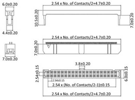 Pfosten-Steckverbinder Rastermaß: 2.54 mm Polzahl Gesamt: 14 Anzahl Reihen: 2 econ connect 1 St.
